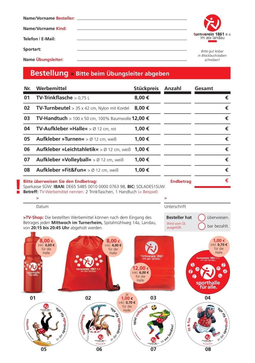 Bestellung - Werbemittel Turnverein 1861 - Dezember 2016